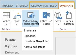 Snimka zaslona koja prikazuje vrpcu sustava SharePoint Online. Odaberite karticu Umetanje i zatim Videozapis ili audiozapis da biste odredili želite li dodati datoteku s računala, mjesta sustava SharePoint, web-adrese ili pak putem koda za ugradnju.