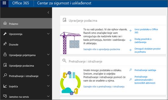 Početna stranica web-mjesto sustava Office 365 sigurnosti i u okvir za centar za usklađenost