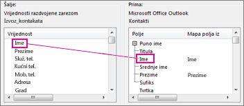 mapiranje stupca programa excel s poljem kontakta u programu outlook