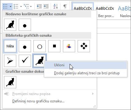Uklanjanje stil grafičke oznake iz biblioteka grafičkih oznaka
