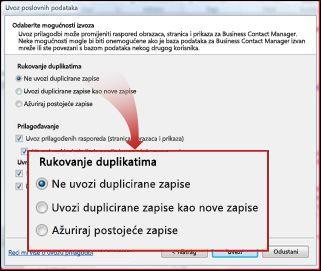 Snimka zaslona sa skupom zadanih programa
