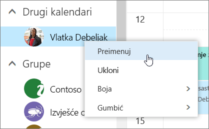 Snimka zaslona kontekstnog izbornika Ostali kalendari.