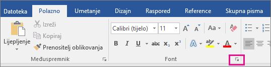 Na kartici Polazno istaknuta je strelica kojom se otvara dijaloški okvir Font