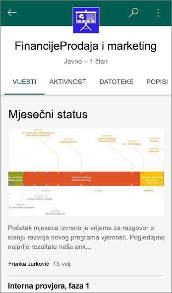 Snimka zaslona kartice Novosti na timskom web-mjestu