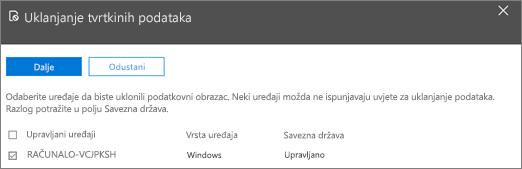 U oknu uklanjanja tvrtkinih podataka odaberite uređaj s kojeg želite ukloniti podatke.