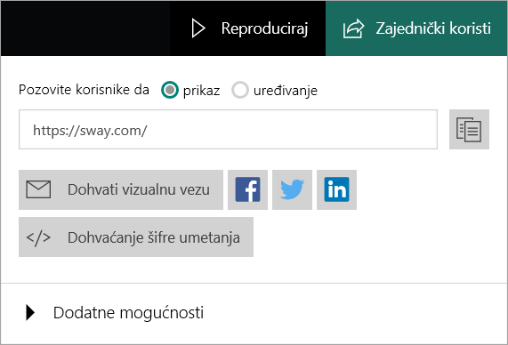 Izbornik aplikacije Sway na Microsoftovu računu