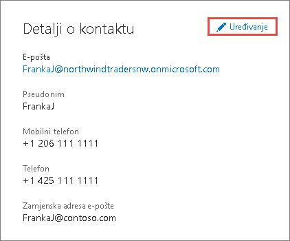 Korištenje pojedinosti o kontaktu za ažuriranje podataka administratora
