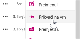 Prikvači na gornji gumb istaknuta na izborniku elipsa