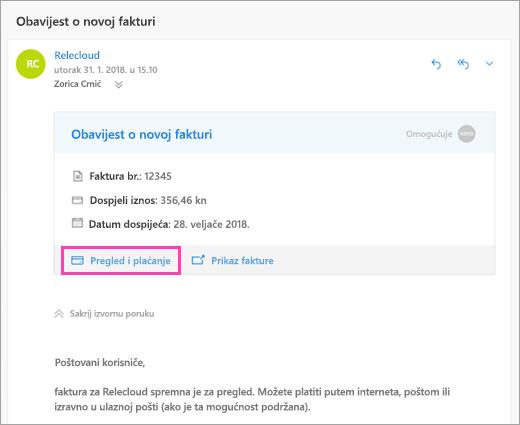 Snimka zaslona pregled i gumb za plaćanje