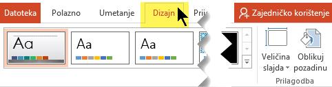 Odaberite karticu Dizajn na vrpci alatne trake. Gumb izbornika Veličina slajda s desne strane kontrolora usmjerenje slajda.
