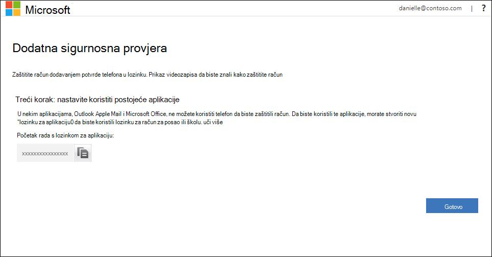Područje lozinki za aplikacije na stranici Dodatna sigurnosna provjera valjanosti