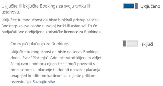 Snimka zaslona: Uključite rezervacija u vašoj tvrtki ili ustanovi