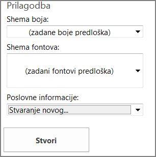Mogućnosti predloška dopisnice za predloške s web-mjesta Office.com.