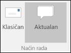Odaberite prikaz klasični ili Outlook.