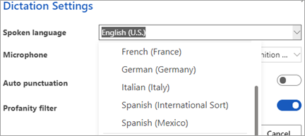 Jezici koje možete diktirati u programu