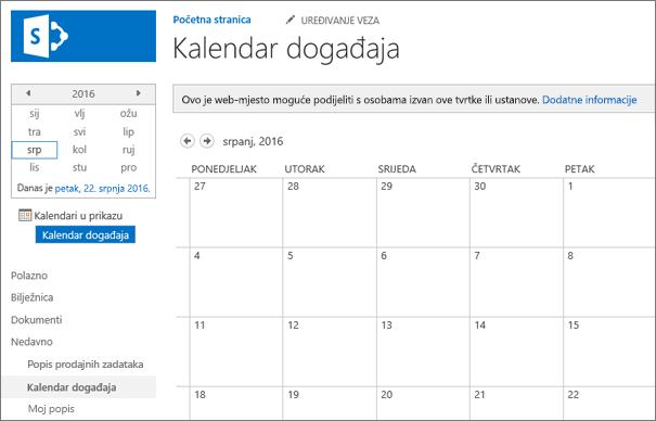 Primjer na popisu aplikacija za kalendar.