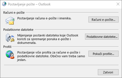 Dijaloški okvir Postavljanje pošte – Outlook kojemu se pristupa putem postavki pošte na upravljačkoj ploči