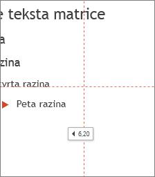 Oznaka koja prikazuje udaljenost od središta slajda