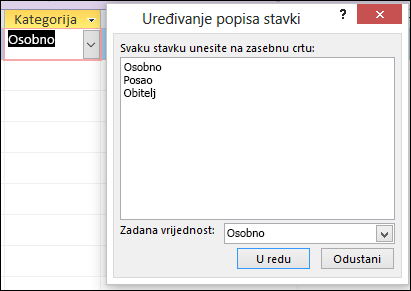 Dijaloški okvir Uređivanje stavki popisa u obrascu programa Access