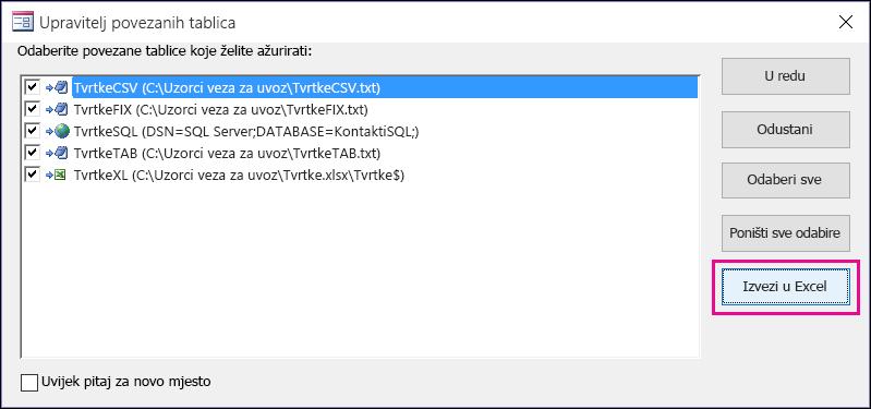 Dijaloški za upravljanje povezanim tablicama u programu Access s odabranim gumbom Izvezi u Excel.
