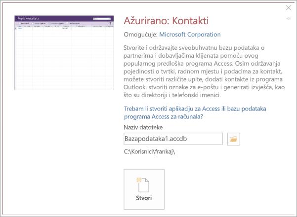 Snimka zaslona kontakt popis sučelja