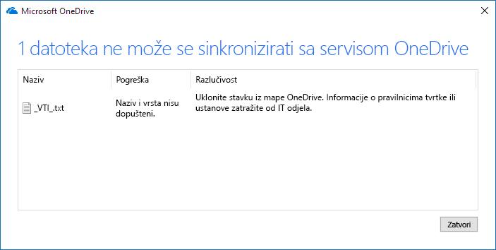 datoteka na servisu onedrive ne može se sinkronizirati