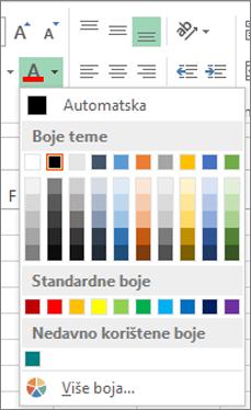 Birač boje fonta