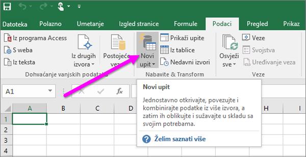 Novi upit u programu Excel 2016
