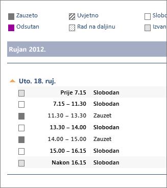 Primjer kalendara poslanog e-poštom