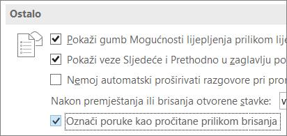 Mogućnost Označi poruke kao pročitane prilikom brisanja u dijaloškom okviru Mogućnosti programa Outlook