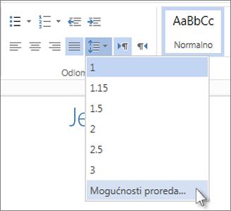 Izbornik Prored u web-aplikaciji Word Web App