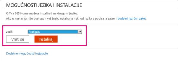 Prikazuje zaslon Instalacijski jezik u upravljanju računom za Office 365