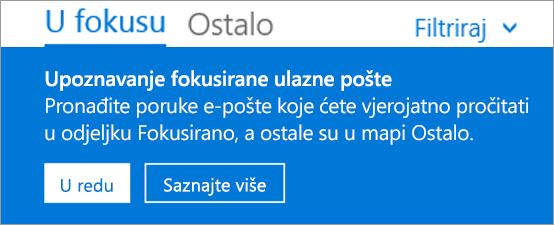 Slika fokusirane ulazne pošte, na kojoj se prikazuje kako korisnik prvi put otvara Outllook na webu.