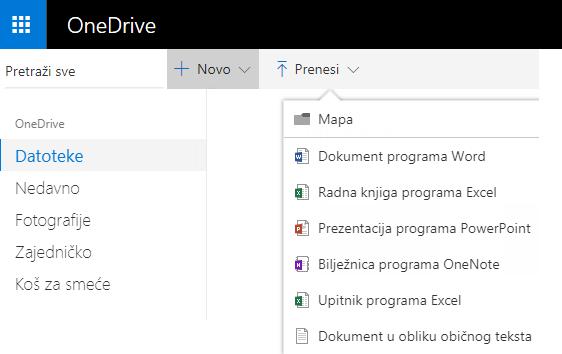 Snimka zaslona s prikazom stvaranja dokumenta na web-mjestu OneDrive.com