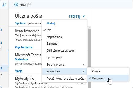 Snimka zaslona s prikazom ulazne pošte s odabranom mogućnošću Filtar > Prikaži kao > Razgovori.