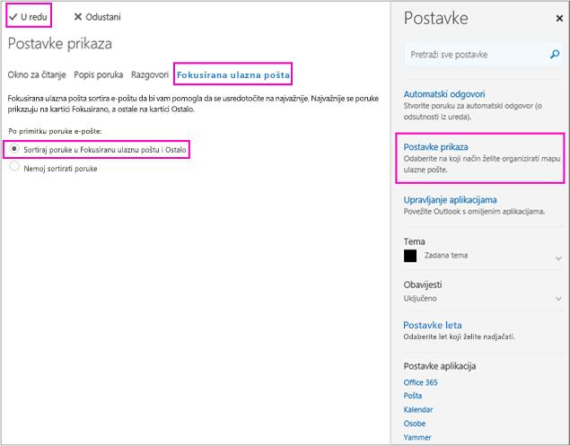 Na stranici Postavke prikaza možete uključiti ili isključiti fokusiranu ulaznu poštu