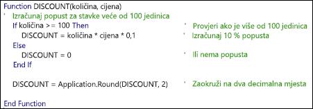 Primjer funkcije VBA s komentarima