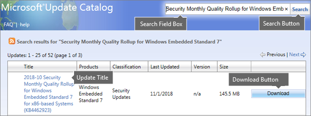 Preuzmite ažuriranje WES7 iz Microsoft Update Catalog
