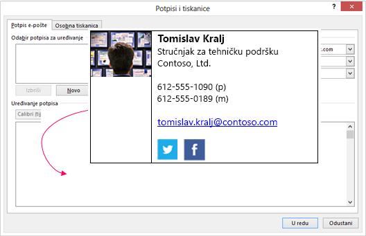 Zalijepite prilagođeni potpis bloka u tekstni okvir za potpis e-pošte u potpisi i tiskanice dijaloškog okvira