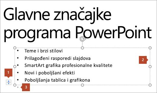 Tekst slajda s rezerviranim mjestom