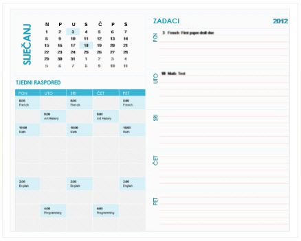 predložak studentskog kalendara s planerom po tjednima (excel)