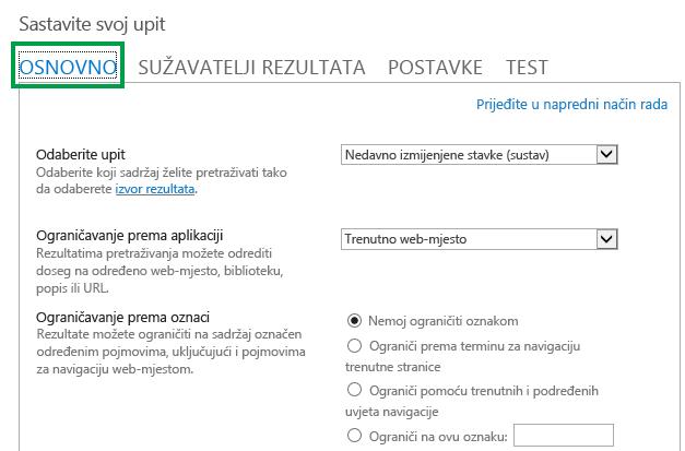 Kartica OSNOVNO prilikom konfiguriranja upita u web-dijelu Pretraživanje sadržaja