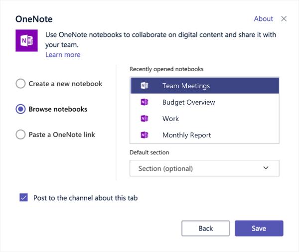 Dijaloški okvir za postavljanje kartica programa OneNote