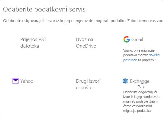 Na stranici Migracija kao svoj podatkovni servis odaberite Exchange
