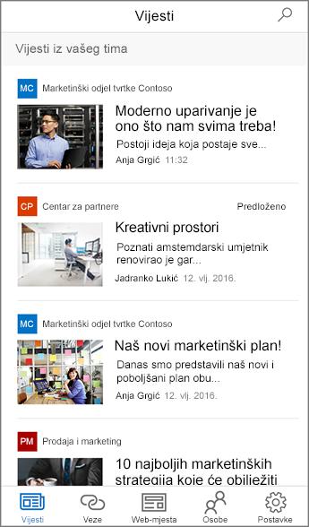 Snimka zaslona sa sažetim timskim vijestima
