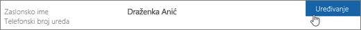 Krupni plan retka za zaslonsko ime i ruke koja pokazuje na gumb za uređivanje.
