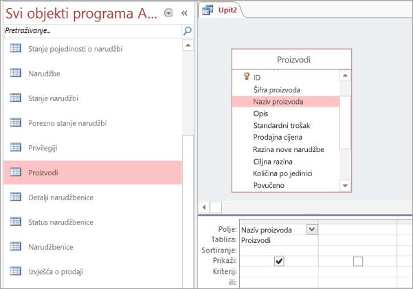 Snimka zaslona s svi objekti programa Access prikaz