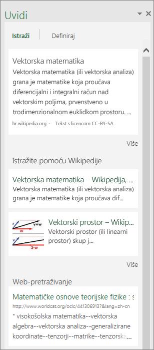 Okno Uvidi u programu Excel 2016 za Windows