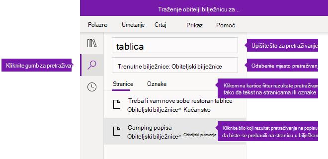 Mogućnosti okna za pretraživanja u programu OneNote za Windows 10