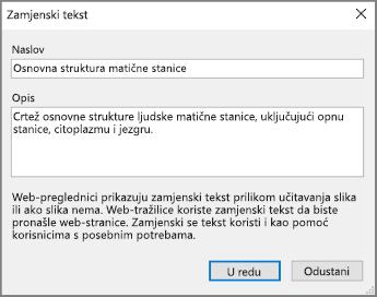 Snimka zaslona dijaloškog okvira Zamjenski tekst u programu OneNote s oglednim tekstovima u poljima Naslov i Opis.
